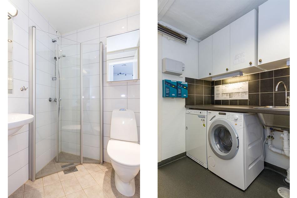 Bad oppe i leilighet, vaskerom nede i kjeller